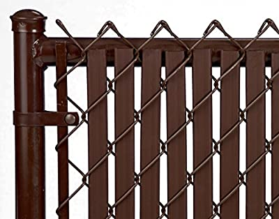 Brown Double Wall Bottom Lock Fence Slat for 4ft Chain Link