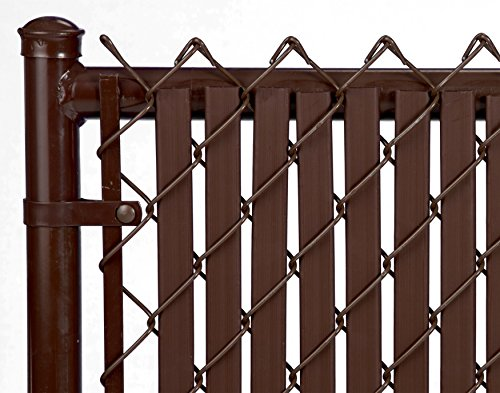 Brown Double Wall Bottom Lock Fence Slat for 4ft Chain (Brown Wide Slat)