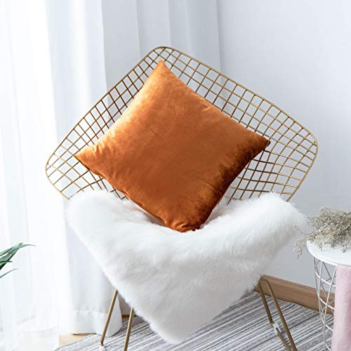 """HOME BRILLIANT Deluxe Velvet Europe Pillow Sham Large Cushion Cover Pillow Case for Bed Office Cafe, 26"""" x 26""""(66cm), Copper"""