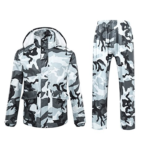 Ynport Outdoor Mens/Womens Waterproof Raincoat Suits Camouflage Hooded Rain Jacket Poncho Coat Update Version