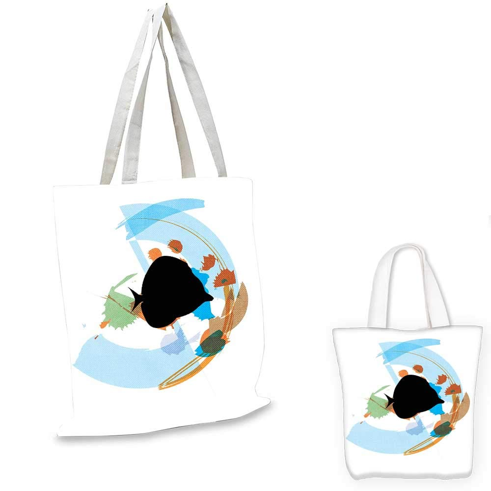 12x15-10 Fish canvas messenger bag Silhouettes of Subaquatic Animals with Fins on Abstract Geometric Background emporium shopping bag Pale Blue Navy Blue