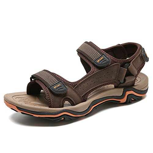 Sandals Breathable Head QXH Leather Brown Shoes Round Casual Beach Men's Dark 0xr0qn5H