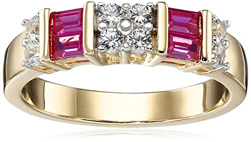 18k-Yellow-Gold-Over-Sterling-Silver-Created-Ruby-and-Created-White-Sapphire-Ring-Size-6