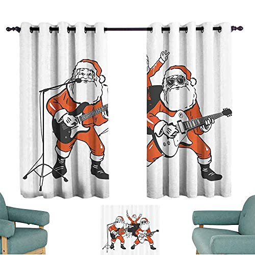 Mannwarehouse Funny Exquisite Curtain Santa Claus Rock Band Playing Drums Guitar Father Christmas Show Print 70%-80% Light Shading, 2 Panels,72