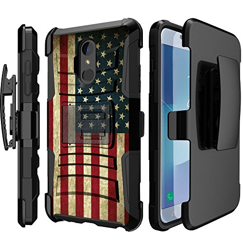 [해외]LG K30LG 프리미어 프로 MINITURTLE 클립 케이스 대응 (2018)하모니 2 【 클립 아머 케이스 시리즈 】 케이스 내장 스탠드 + 보너스 권총 클립 콤보-미국 국기 / MINITURTLE Clip Case Compatible with LG K30  LG Premier Pro (2018)  Harmony 2 [C...