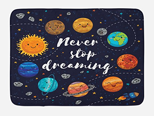 Ambesonne Bath Mat, Outer Space Planets and Star Cluster Solar System Moon and Comets Sun Cosmos Illustration, Plush Bathroom Decor Mat with Non Slip Backing, 29.5 W X 17.5 W Inches, Navy Orange