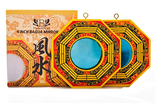 FengShuiYan Bagua Mirror Set of 2 for Protection; One Concave Mirror for Protection Against Passive Negative Energy & One Convex Mirror for Protection Against Active Harmful Energy (Yellow)]()