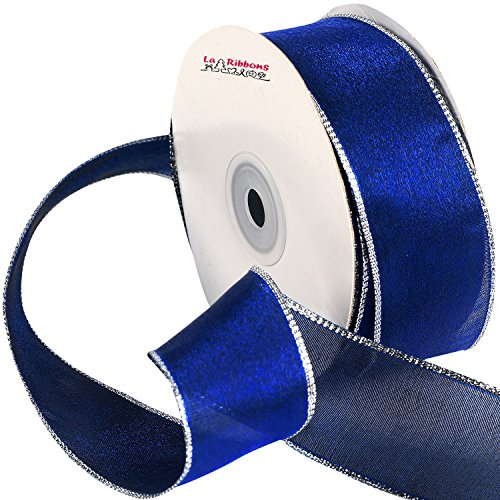 Laribbons Wired Edge Craft Ribbon, 1-1/2-inch By 25-yard Spool, Blue Series (2142) (Blue Ribbon Organza Wired)