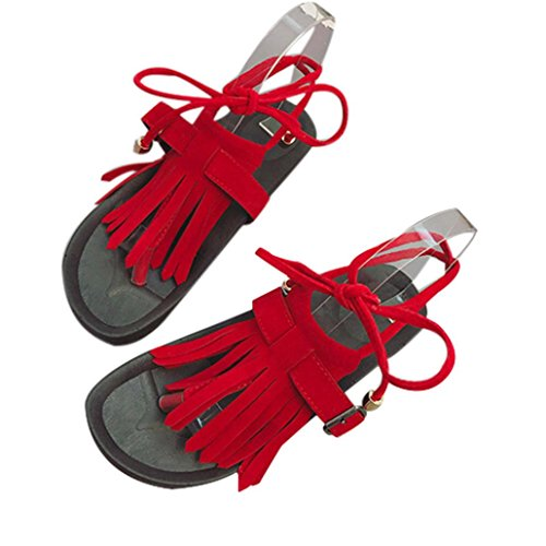 SHOBDW Boho Sandalias para mujer Verano platafoma Sandalias bohemian Romanas Zapatos de Hebilla Rojo