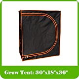 Grow Tent #1 - 100% Mylar 600D Reflective Greenhouse for Hydroponics 30''x18''x36''