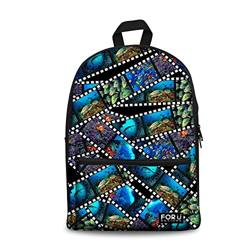 Turtle Tropical Fish Print Children Backpack