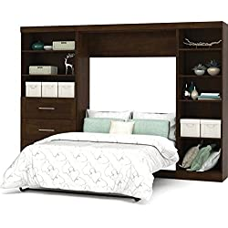 "Bestar Pur 120"" Full Wall Bed with 2 Piece 3 Drawer Storage Unit in Chocolate"
