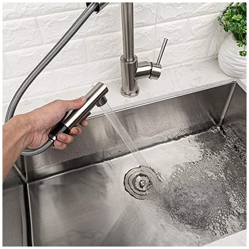 Kitchen Lordear Bar Sink Faucet ,Modern Style Stainless Steel 2 Water Function Setting Single Handle Pull Out with Sprayer Wet… modern sink faucets