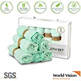 Luxury Baby Washcloths (6-Pack) | 100% Organic Bamboo Ultra Soft Hypoallergenic Extra Absorbent Wipes for Sensitive Skin | Infants, Toddlers, Adults | Perfect Baby Shower Gift | Green