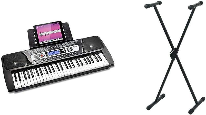 RockJam RJ654Teclado Electrónico Portátil de 54 Teclas con Pantalla LCD Interactiva + Pure GEWA F900520Soporte de teclado, patas perfil simple,negro