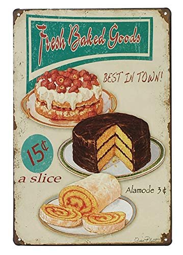 UNIQUELOVER Kitchen Signs Wall Decor Rustic, Fresh Baked Goods Best in Town Vintage Retro Metal Food Tin Sign Wall Decor 12