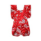 NUWFOR Newborn Infant Kids Baby Girl Outfit Clothes Floral Printing Romper Jumpsuit Set White