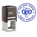 Blue Ink, Self Inking Personalized Teacher Stamp This Book Belongs To School Student Apple wearing Glasses Library Book Stamper Custom Large Round 3 Lines Customized Personal Teacher Appreciation