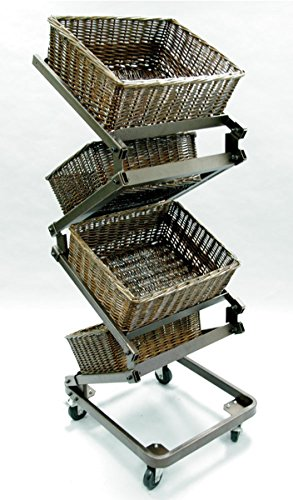 4-Tier Zig Zag Willow Basket Merchandiser Display Rack Store Fixture Large Basket Antique Bronze New by Unknown