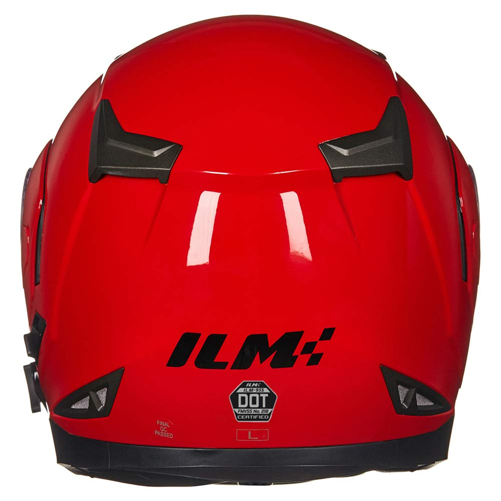ILM Bluetooth Integrated Modular Flip up Full Face Motorcycle Helmet Sun Shield Mp3 Intercom (XL, RED) by ILM (Image #4)