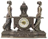 14.63 Inch Women Carrying Urn on The Litter Mantel Clock, Bronze Color