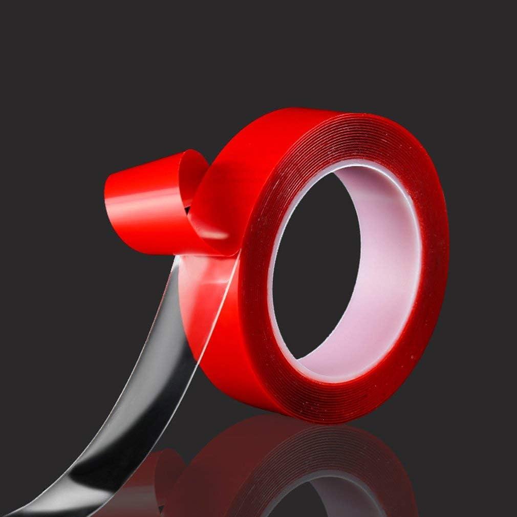 SEN Adesivo Biadesivo per Auto ad Alta viscosit/à Resistente Trasparente antitraccia Pasta Rossa Larga 10 mm e Lunga 3 Metri