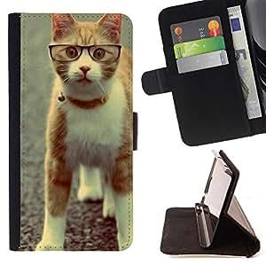 Devil Case- Estilo PU billetera de cuero del soporte del tir¨®n [solapa de cierre] Cubierta FOR Sony Xperia m55w Z3 Compact Mini- Cat Cute Kitty