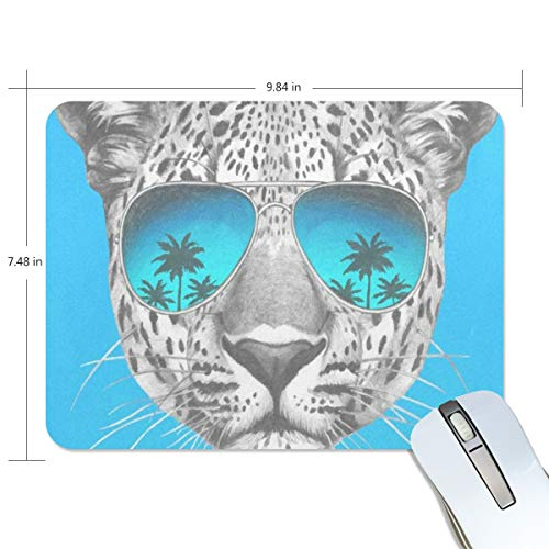 Mouse Pad Leopard with Mirror Sunglasses Gaming Mousepad 3D Small Thick Mouse Mat Black Cool Mouse Pads