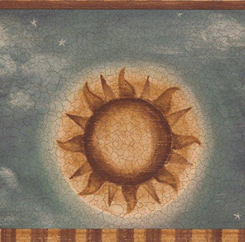 Vintage Sun Moon Stars Clouds Cracked Dark Grey Bedroom Wallpaper Border for Kids, Roll 15' x 7'' (Cloud Border Wallpaper)
