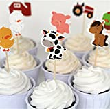 Yunko Set of 24 Farm Animals Cake Cupcake Decorative Cupcake Topper for Kids Birthday Party Themed Party Baby Shower