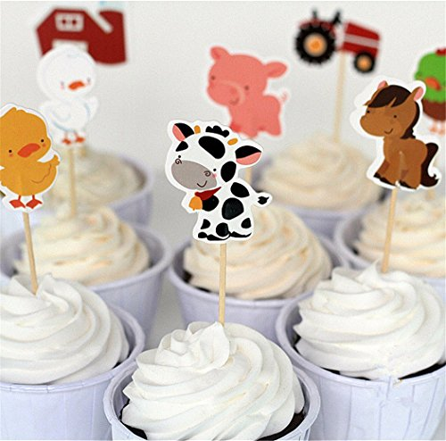 Birthday Party Cake Topper (Yunko Set of 24 Farm Animals Cake Cupcake Decorative Cupcake Topper for Kids Birthday Party Themed Party Baby)