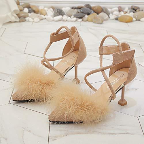 Yukun zapatos de tacón alto Zapatos Individuales para Mujer, Aguja De Punta Ancha, Boca Poco Profunda, Tacones Altos Apricot