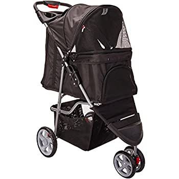 OxGord 3 Wheeler Elite Jogger Pet Stroller Cat/Dog Easy Walk Folding Travel Carrier, Onyx Black