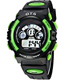 Colorful Backlight Boys and Girls Waterproof Digital Watches for Students Black Green Small