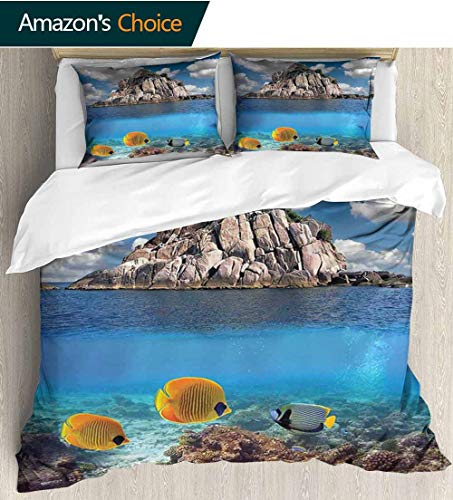 (shirlyhome Ocean Full Queen Duvet Cover Sets,Tropical Paradise Corals Fishes Rocky Small Island KOH Tao Island Thailand Kids Bedding-Does Not Shrink or Wrinkle 87