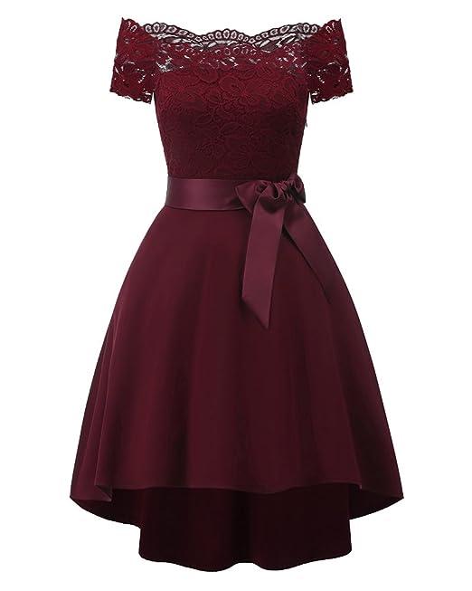 AnyuA Vestido Mujer Corto De Encaje Sin Hombros con Lazo para Graduacion Vino Rojo S