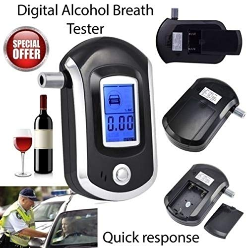 iweed Alkoholtester Professioneller Atemalkoholmessger/ät Halbleiter Sensor Digital LCD Bildschirm Promilletester Alkoholmessger/äte mit 5 Mundst/ücke