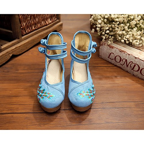 Eagsouni Women's Chinese Traditional Phoenix Embroidered Shoes Dancing Ballet Casual Loafers Oxfords Sole Blue O4Irw