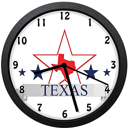 (Akalidebaih San Antonio Dallas Houston Austin Map with Stars USA-Decorative Wall Clock,10inch-The Best Gift )