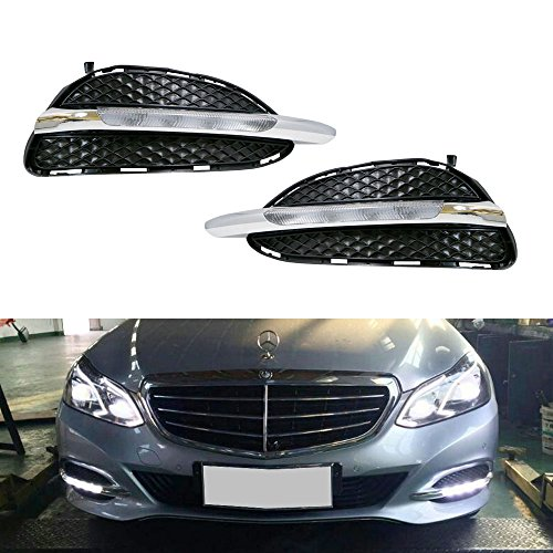 iJDMTOY OEM Exact Fit 10W High Power LED Daytime Running Lights DRL Fog Lamps Kit For 2013-2015 Mercedes W212 Facelift E-Class Sedan (Not for Sport Package Bumper nor AMG Bumper), Xenon White Amg Sport Package