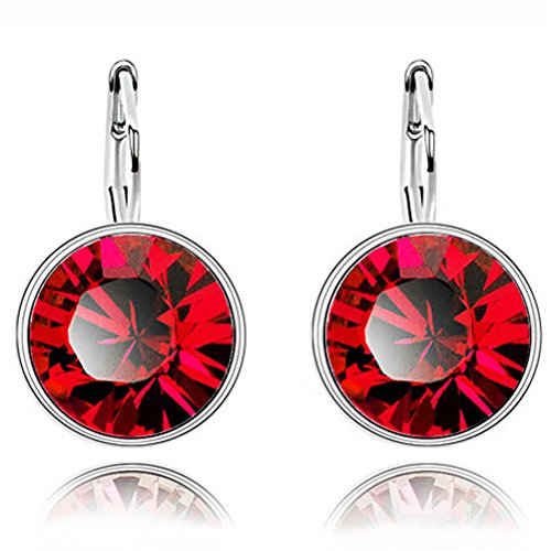 Crystal Fashion Dangle Earrings - Fashion Dangle Crystal Earrings Leverback for Women Red DSP02