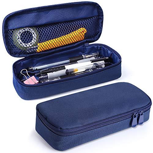 Pen Case, Senignol Big Capacity Canvas Makeup Pouch Bag Pencil Case with Double Zipper (Blue) ()