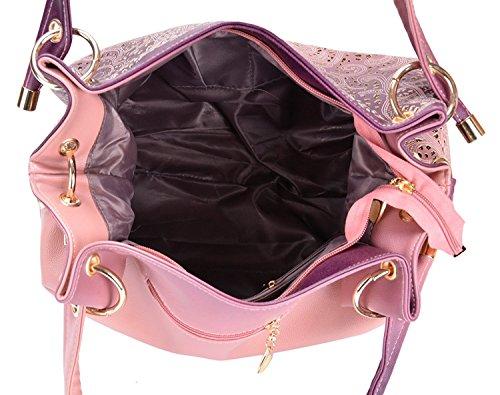 Rosa Asa La Mujer Bolsos Del Moda De señoras Del Color Parte Mano Bolso De Hombro De La De Bolso De Diseñador Cuero De Superior De Pu Vincico De Para T5q4OwOf