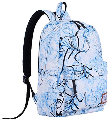 Tibes Mochila escolar Mochila ligera poliéster Mochila casual impresa Mochilas para Azul