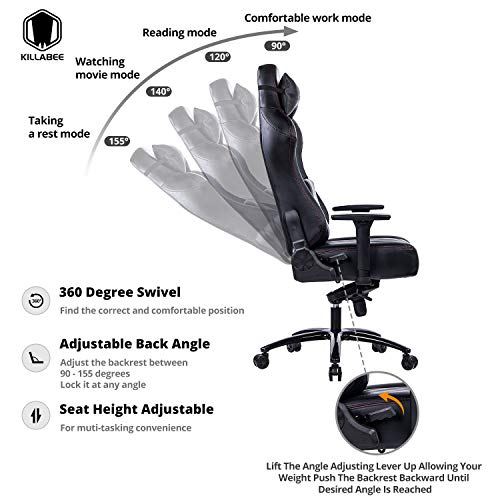 KILLABEE Big and Tall 400lb Memory Foam Gaming Chair - Adjustable Tilt, Back Angle and 3D Arms Ergonomic High-Back Leather Racing Executive Computer Desk Office Chair Metal Base, Black by KILLABEE (Image #1)