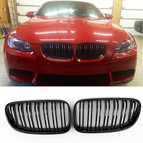 E92 Grille, ABS M3 Style Front Kidney Grill Grille for BMW 3 Series E92 E93 (LCI 2010-2013, ABS (Gloss Black))
