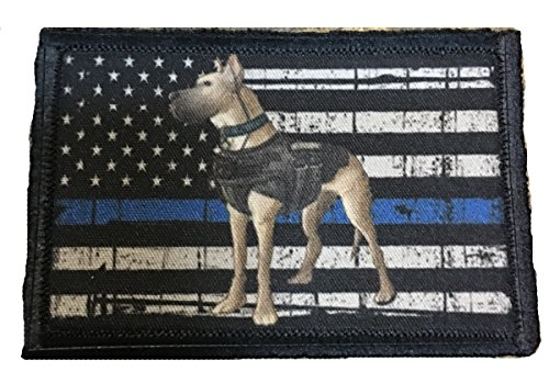 K9 Thin Blue Line Police K9 Morale Tactical Patch. Made in the USA police swat dogs of war ISAF OEF OIF. 2x3 hook Patch.