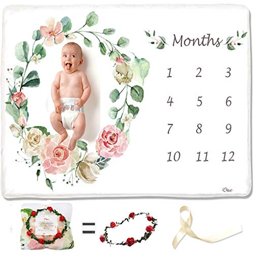 MaeMae Baby Milestone Monthly Blanket | Photography Backdrop Photo Prop for Newborn Boy & Girl | Large Soft Floral Fleece Blanket for Newborn to 12 Months | Gender Reveal and Baby Shower Gift ()