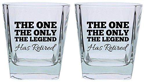 Retirement Gifts for Women or Men the One Only Legend Has Retired Funny Retirement Gift Set Square Lowball Glasses 2-Pack Square Lowball Tumbler Set Black by ThisWear