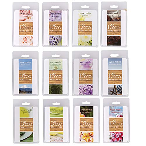 Scented Wax Melts -Set of 12 (2.5 oz) Assorted Wax Warmer Cubes /Tarts - Rose, Lavender, Jasmine, Wooded Pine, Sea Salt & Linen, Mountain Air, Lilac, Sandalwood, Green Tea, Lemongrass, Aloha, Berry